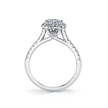 Coast Diamond cushion shaped halo engagement ring lc5256 surprise diamond cathedral setting