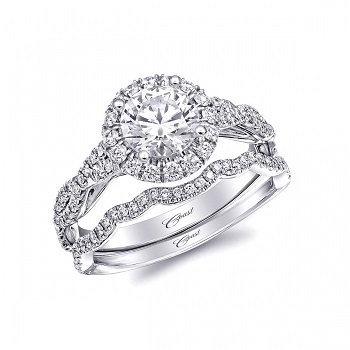 Coast Diamond halo engagement ring LC5451 twisting band of diamonds