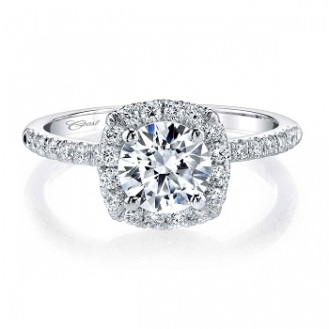 Coast Diamond cushion shaped halo engagement ring LC5409 single prong setting