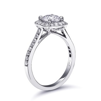 Coast Diamond 1Ct halo engagement ring lc5357 pave diamonds milgrain edging sideview