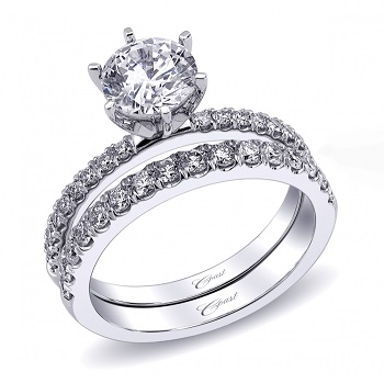 Coast Diamond 6 prong engagement ring LC5244 with diamond band WC5244