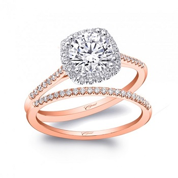 Coast Diamond rose gold cushion shaped halo engagement ring LC5410rg Engagement 101 Ring of the Year 2016