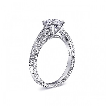 Coast Diamond Vintage Collection 1CT hand-engraved engagement ring LC6068 pave diamond band