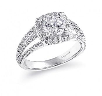 Coast Diamond cushion shaped halo engagement ring LC5312 3 row 0.48CT diamond band