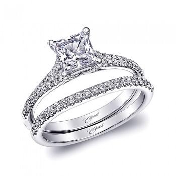 Coast Diamond princess cut engagement ring LC10116 wedding band WC10116