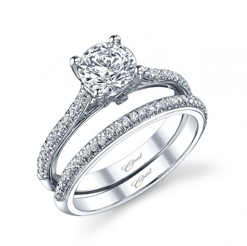 Coast Diamond solitaire engagement ring lc5334 matching band wc5334 diamond encrusted bands