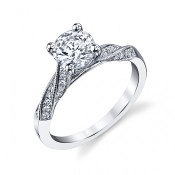Contemporary Coast Diamond engagement ring (LC6092) pave set diamonds milgrain edging