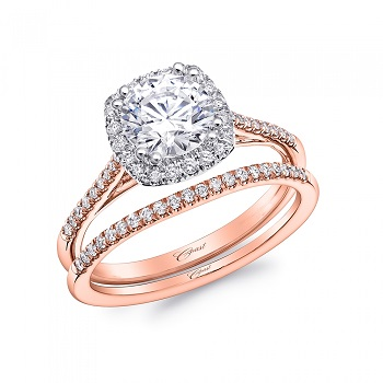 Coast Diamond petite rose gold halo wedding set lc5390rg_wc5390rg