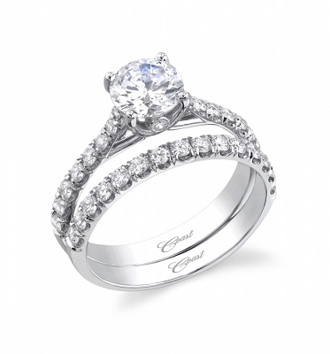 Coast Diamond LC5219 solitaire engagement ring and matching band wc5219 hidden diamond