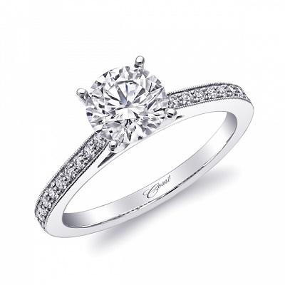 Coast Diamond LC5363 solitaire engagement ring pave diamonds milgrain edging