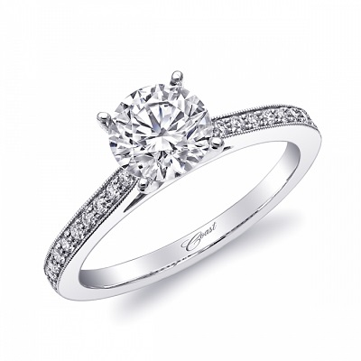 Coast Diamond LC5363 solitaire engagement ring pave diamonds milgrain edging