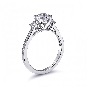 Coast Diamond three stone engagement ring LC5375 pave set diamonds milgrain edging