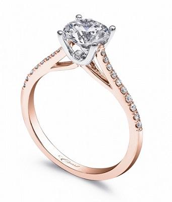 Coast Diamond LC5388-rg solitaire engagement ring rose gold hidden diamond