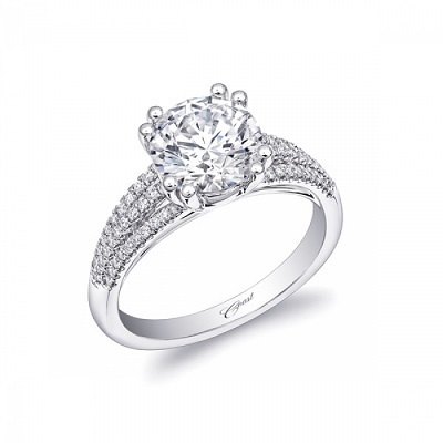 Coast Diamond 2 CT engagement ring double prong setting LC10035 three rows of diamonds on the band