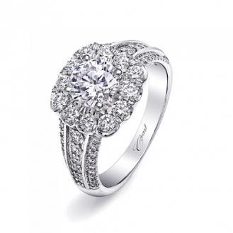 Coast Diamond 1CT halo engagement ring LC10072-100 three row diamond band