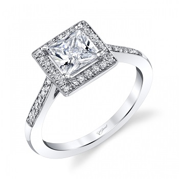 Princess cut Coast Diamond engagement ring LC5391-PC pave set diamonds milgrain edging