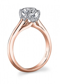 two tone rose and white gold crown-like Coast Diamond engagement ring