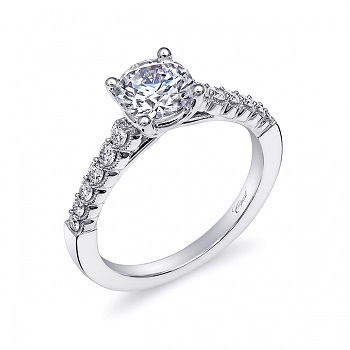 Coast Diamond scalloped edge engagement ring LC10387 micro-prong set diamond milgrain edging