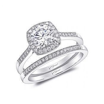 Coast Diamond halo wedding set LC5391_WC5391 pave diamonds milgrain edging