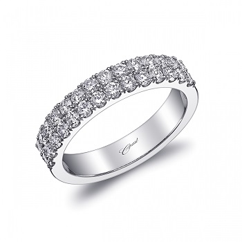Coast Diamond wedding band WC20018 2 rows round brilliant diamonds