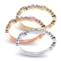 Cluster image Coast Diamond band WC10183H marquise and graduated round shapes with round center stones yellow, white and rose gold