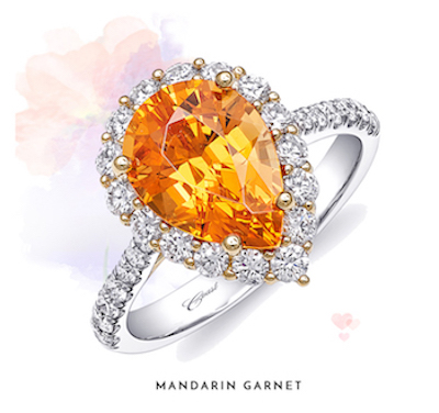 Coast Diamond pear shaped mandarin garnet gemstone ring LSK101000-MAN diamond halo