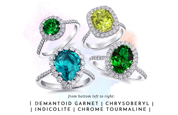 Coast Diamond Signature Color demantoid garnet LSK10089-DG chrysoberyl LSK10039-CHB indicolite LSK10097-IND chrome tourmaline LCK10062-CHT