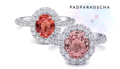 Coast Diamond Signature Color padparadscha ring set in platinum LSK10011-PAD LSK10043-PAD