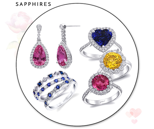 Coast Diamond Color Collection sapphires Pink sapphire earrings ECK10002-PS blue sapphire heart shaped ring LS10141-S round yellow sapphire ring LSK10003-YS round pink sapphire ring LSK10087-PS blue sapphire fashion ring WC7040-S WC20019C-S WC10165HC-S