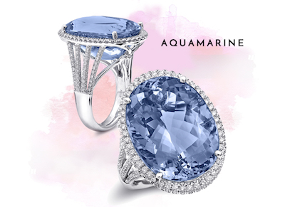Coast Diamond 16.03CT aquamarine ring LCA5384-AQ with 0.52CT diamonds