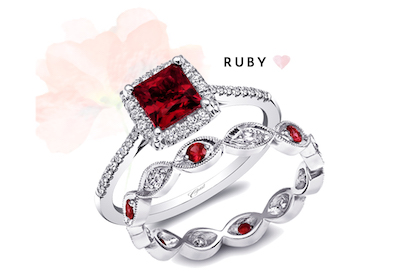Coast Diamond princess cut ruby engagement ring LXK5410 diamond ruby band WC10177C-R