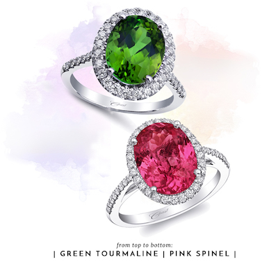 Coast Diamond green tourmaline ring LCK10158-GT and pink spinel ring LCK10040-SPIN