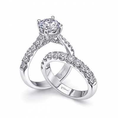 Coast Diamond 1.5CT round brilliant diamond engagement ring LS10170 and 0.75CT wedding band WZ5001H