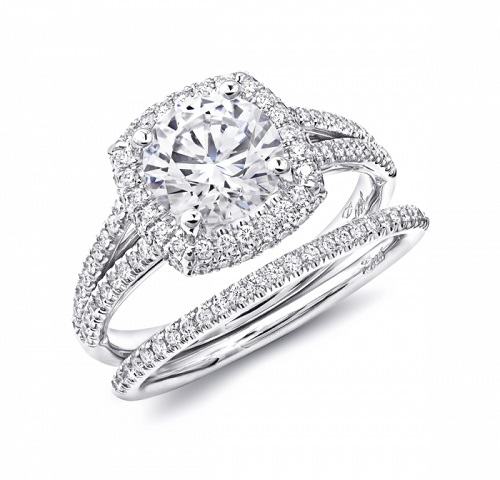 Coast Diamond cushion shaped engagement ring LC5441 pave set diamond split band