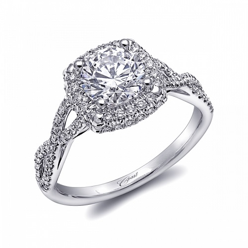Coast Diamond cushion shaped halo engagement ring LC5457 twisting diamond band
