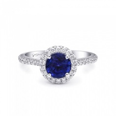 Coast Diamond Signature Color Collection round halo engagement ring LS10015-s sapphire