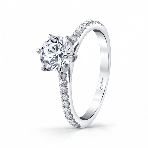 Coast Diamond six prong solitaire engagement ring LC5250 round brilliant diamond band