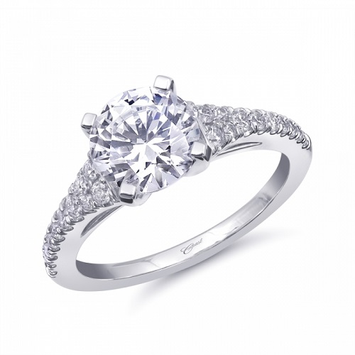 LC10360 Coast Diamond 1.5CT engagement ring with 2 rows of diamonds on the band