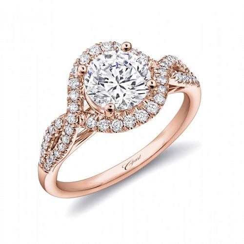 Coast Diamond twisting halo engagement ring LC5449 1.5 carat rose gold
