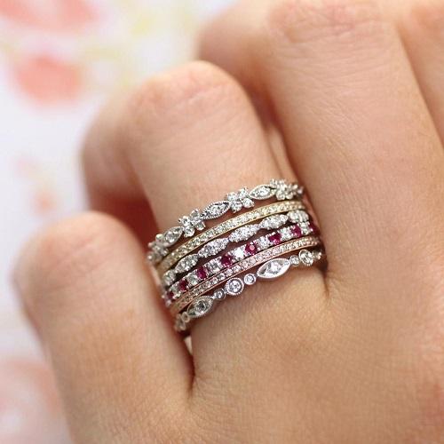 Coast Diamond ring stack top to bottom WC10375H_WC5191YG_WC6101_WC20020C-R_WC5191RG_WC7048
