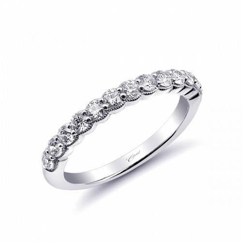 Coast Diamond half carat diamond band WC10031 milgrain edging