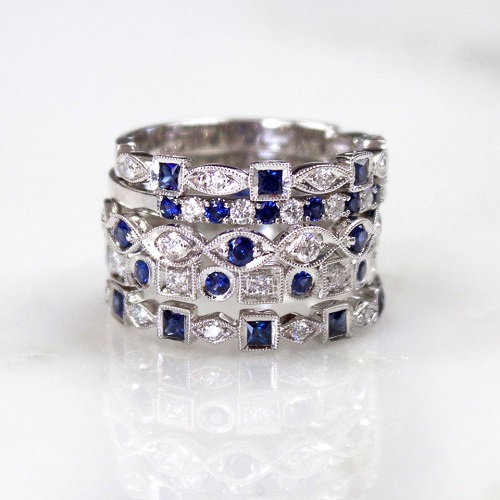 Coast Diamond Sapphire ring stack WC10175H-S_WC20021C-S_WC10177HC-S_WC10165HC-S
