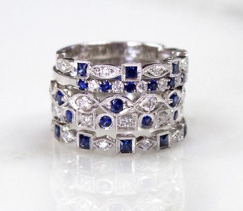 Coast Diamond Sapphire ring stack WC10175H-S_WC20021C-S_WC10177HC-S_WC10165HC-S