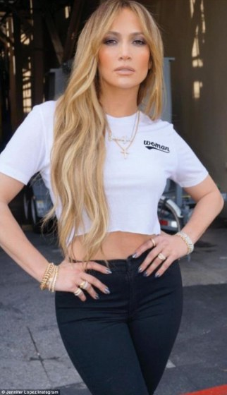 JLo Instagram Casual in her diamond bands