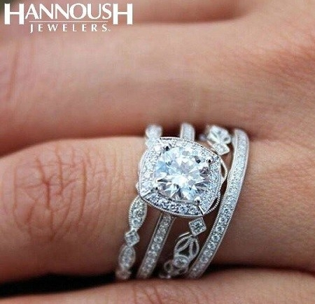 Coast Diamond stack of classic rings with milgrain edging at Hannoush Jewelers
