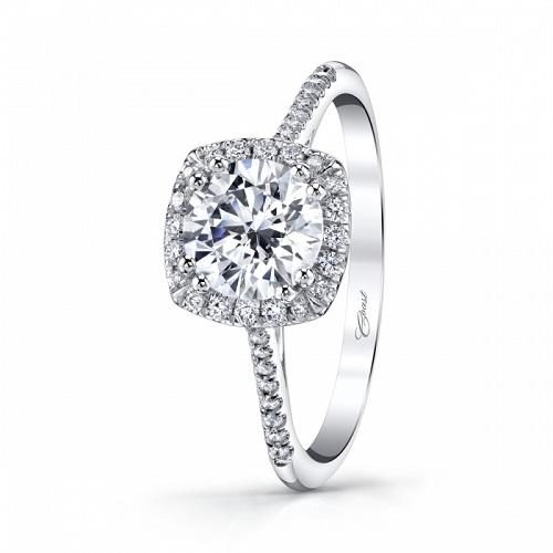Coast Diamond cushion shaped halo engagement ring LC5410 platinum