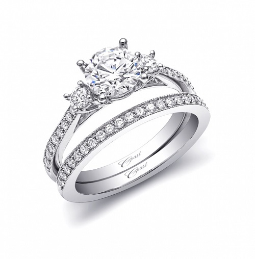 Coast Diamond three stone wedding set LC5375_WC5375 pave diamonds milgrain edging
