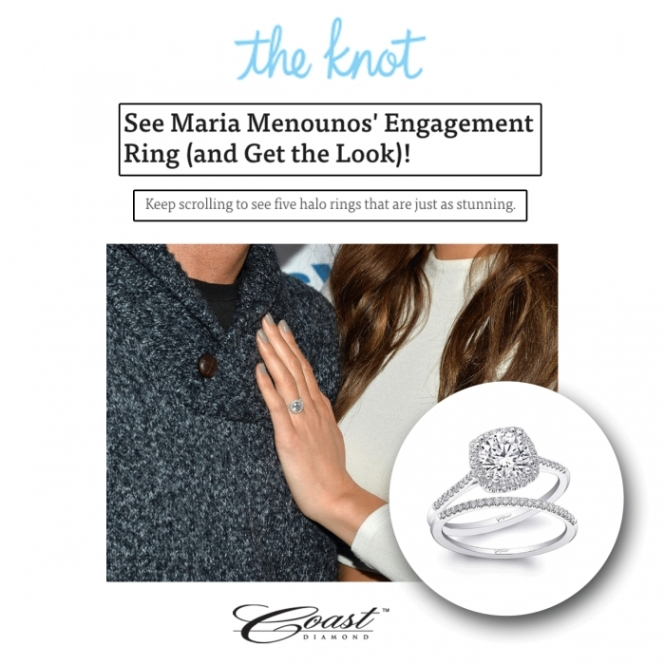 The Knot Maria Minounos Get the Look Engagement ring Coast Diamond cushion shaped halo engagement ring LC5390