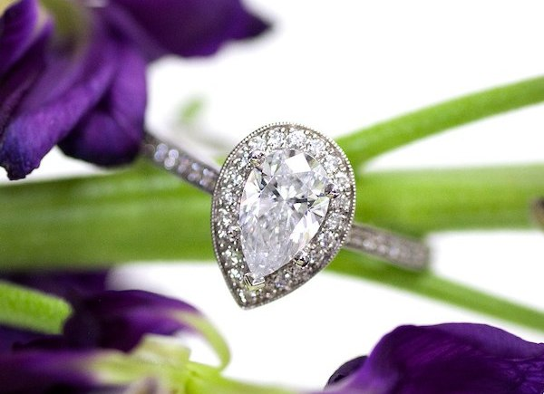 Coast Diamond Romance Collection pear shaped halo engagement ring LC5391-PRS pave migraine