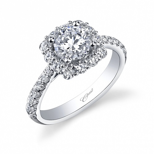 Coast Diamond cushion shaped halo engagement ring lc5257